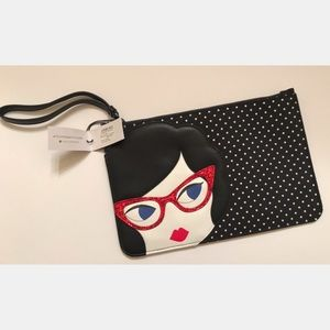 Lulu Guinness Med Lulu Doll Face Glasses Wristlet